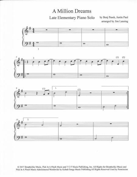 A Million Dreams (Late Elementary)