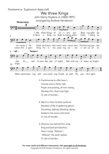 We three Kings (easy trombone or euphonium bass clef + easy piano)