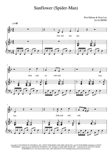 Sunflower piano sheet music