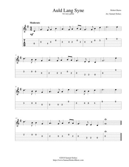 Auld Lang Syne - for easy guitar with TAB