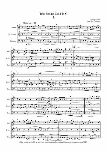 """Gallo: Trio Sonata No.1 in G Mvt.I (The Original Baroque Music used in the derivative """"Pulcinella Suite - 1.Sinfonia (Overture)"""") - double reed trio"""