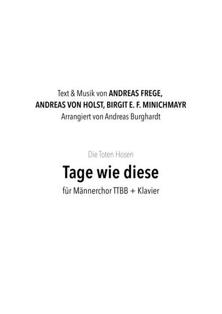 Tage wie diese (für Männerchor TTBB + Klavier) - Die Toten Hosen