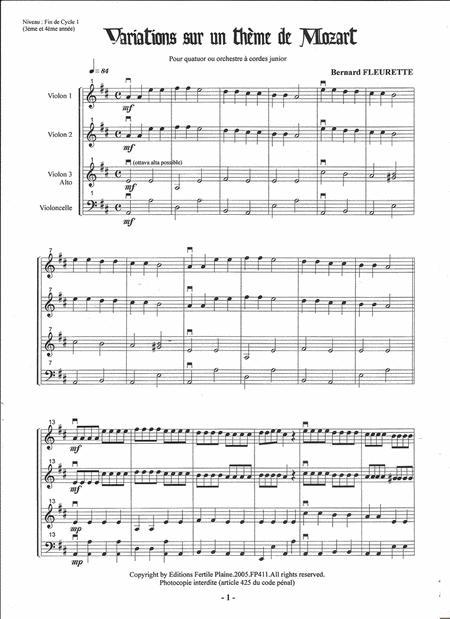 Variations Sur Un Theme De Mozart