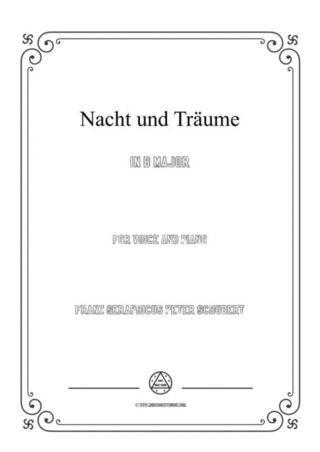 Schubert-Nacht und Träume in B Major,for voice and piano
