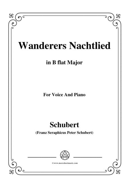 Schubert-Wanderers Nachtlied in B flat Major,for voice and piano