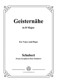 Schubert-Geisternähe,in D Major,for Voice and Piano