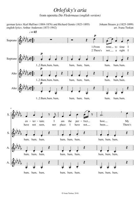 Orlofsky's aria (Die Fledermaus), SSAA a cappella