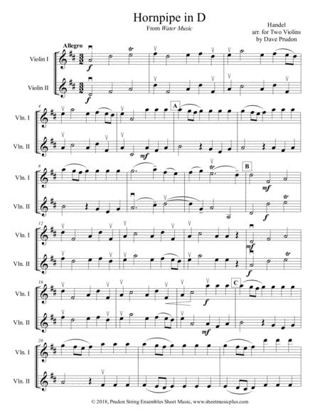 Handel's Hornpipe in D for Two Violins