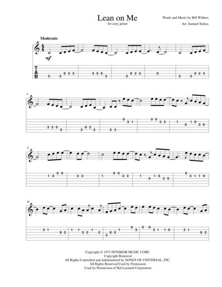 Lean On Me - for easy guitar with TAB