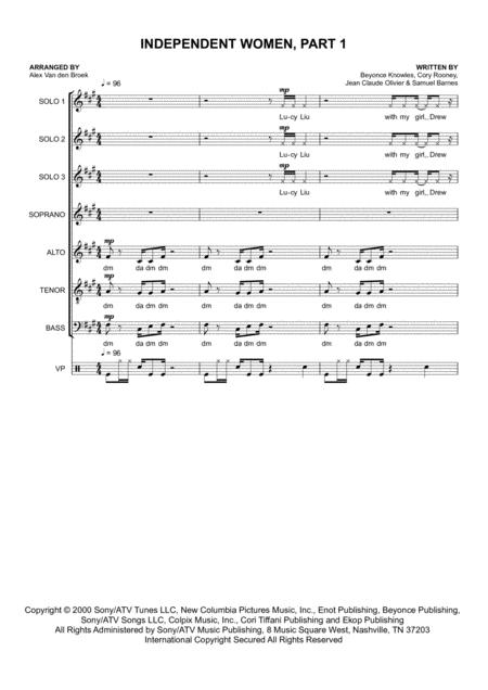 Independent Women Part I for SATB and Vocal Percussion