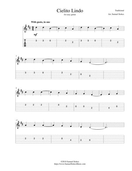 Cielito Lindo - for easy guitar with TAB