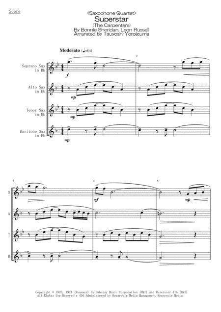 <Saxophone Quartet> Superstar (The Carpenters)