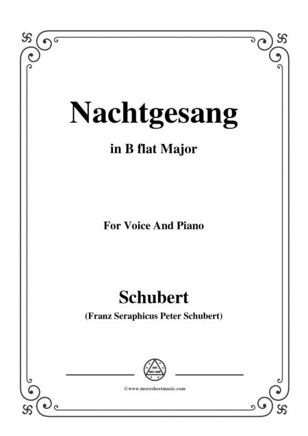 Schubert-Nachtgesang,in B flat Major,for Voice&Piano