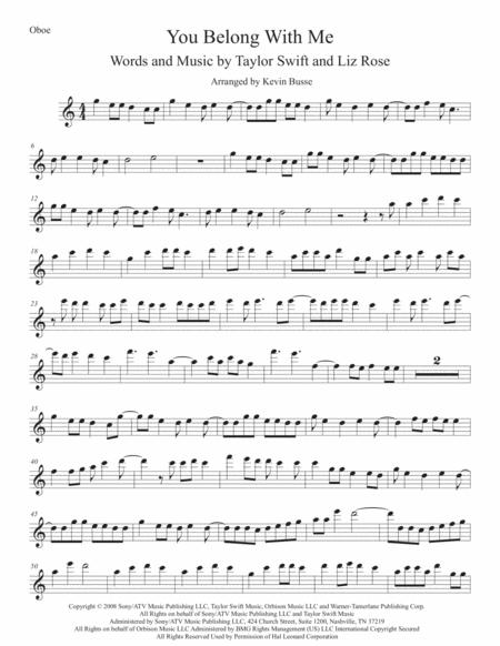 You Belong With Me (Easy key of C) Oboe