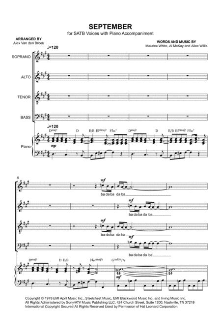 September SATB with Piano Accompaniment