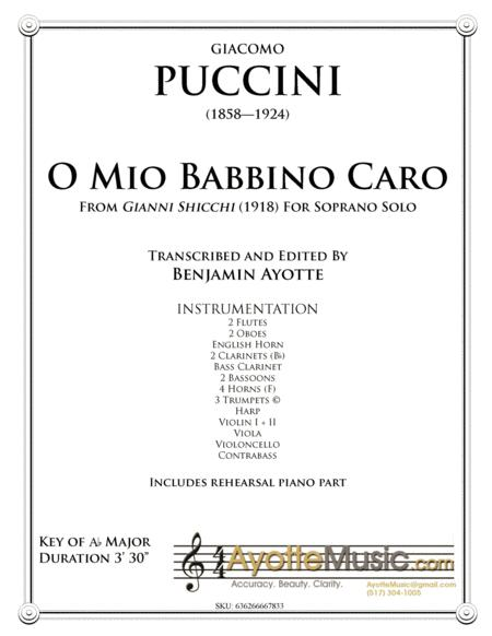 Puccini O Mio Babbino Caro, aria for Soprano. Full Score and Parts with Rehearsal Piano