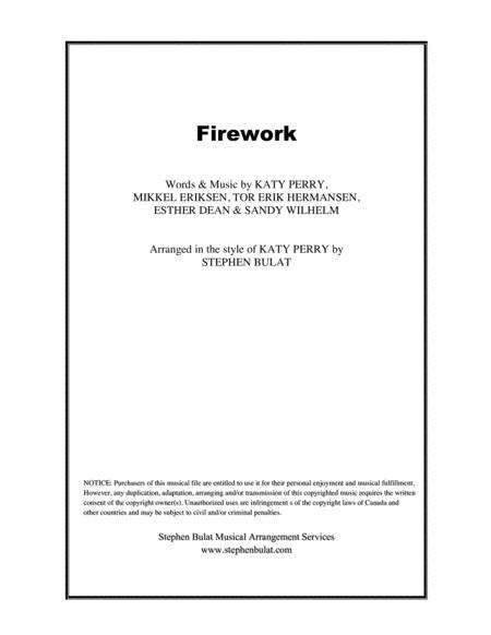 Firework (Katy Perry) - Lead sheet in original key of Ab