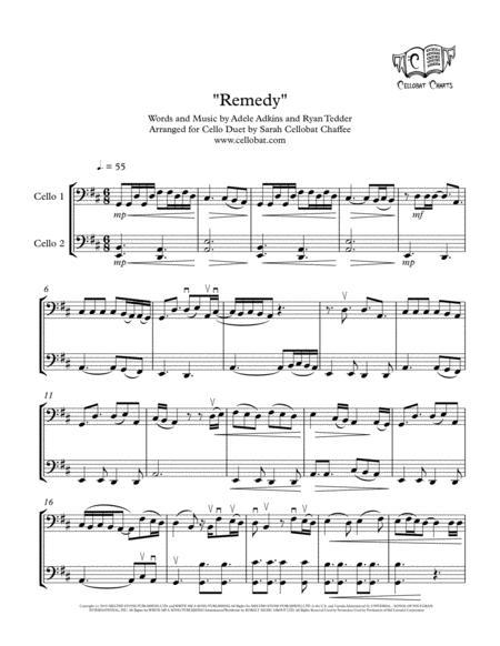Download Remedy Cello Duet Adele Arr Cellobat Sheet