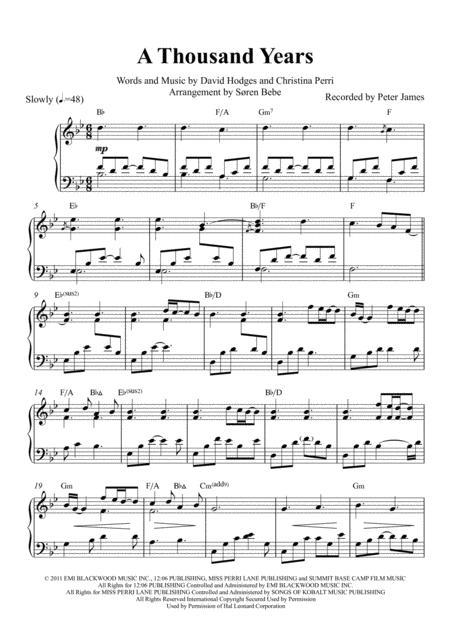 A Thousand Years (Christina Perri) - Piano Solo