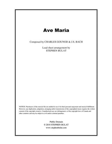 Ave Maria (Bach/Gounod) - Lead sheet (key of F)