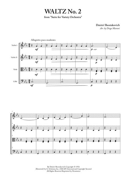 Download Waltz No  2 For String Quartet Sheet Music By