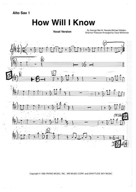 How Will I Know - Instrumental or Vocal or with Big Band Key of F