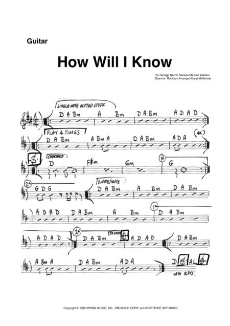 How Will I Know - Vocal with Rhythm Section Key of D