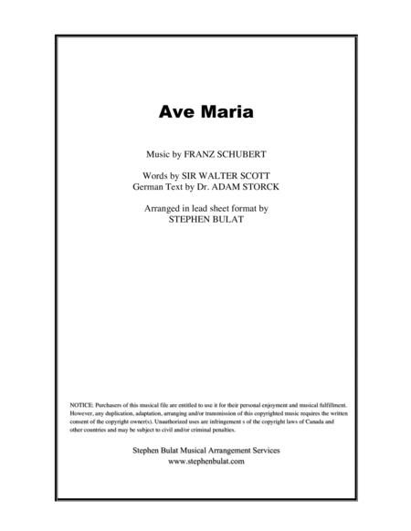 Ave Maria (Schubert) - Lead sheet (key of Eb)