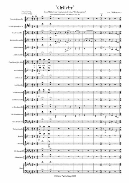 Urlicht from Mahler's 2nd Symphony in C minor for Flugel or Mezzo Sop solo