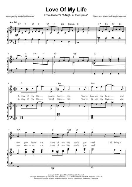 Download Love Of My Life - Easy Piano Sheet Music By Queen