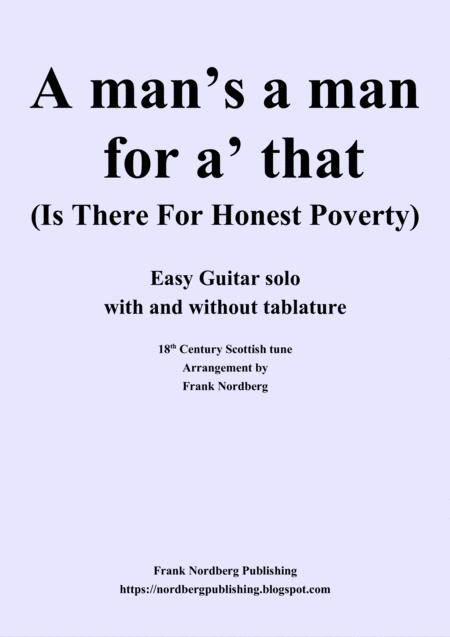 A Man's a Man for A' That (easy guitar - with and without tablature)