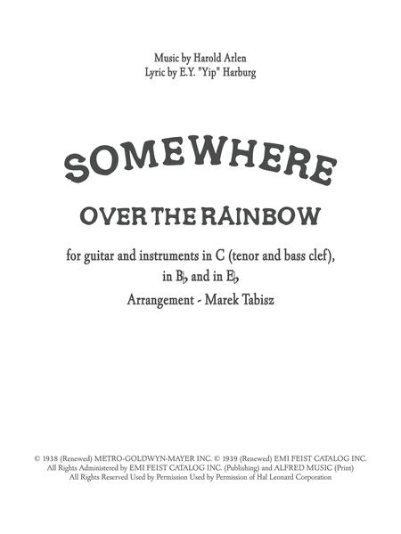 Somewhere Over The Rainbow for guitar and instruments in C, Bb, Eb