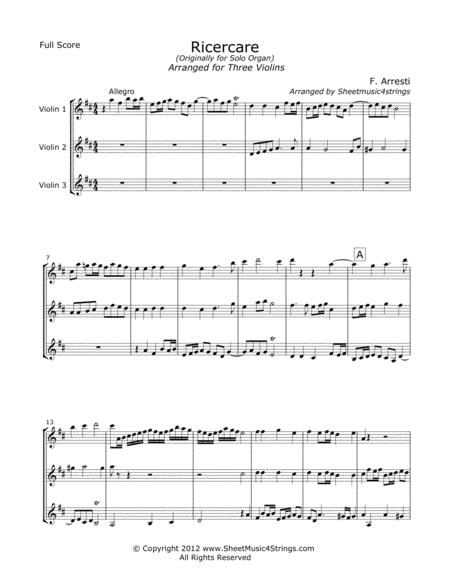 Arresti, F. - Ricercare for Three Violins