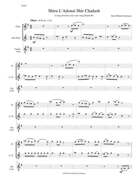 Shiru l'adonai shir chadash - O sing unto the Lord a new song - Psalm 96 for flute, alto flute and classical guitar