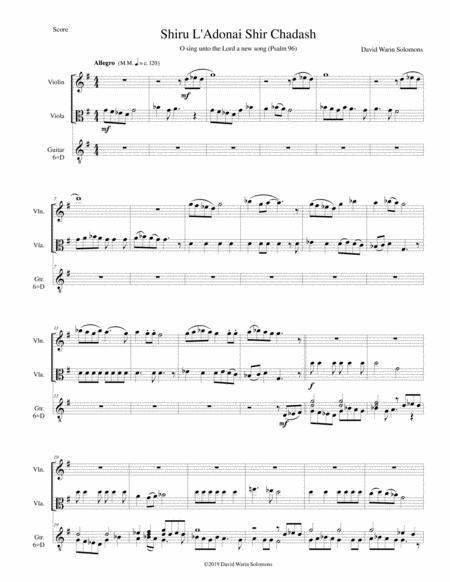 Shiru l'adonai shir chadash - O sing unto the Lord a new song - Psalm 96 for violin, viola and classical guitar