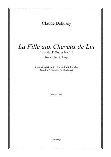La Fille aux Cheveux de Lin - for violin & harp