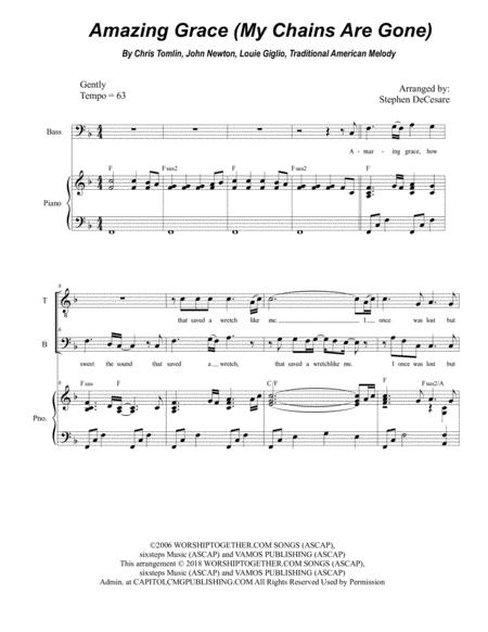 Amazing Grace (My Chains Are Gone) (for 2-part choir - (TB)