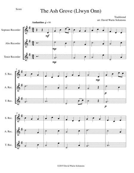 The Ash Grove (Llwyn Onn) for recorder trio (soprano, alto, tenor)