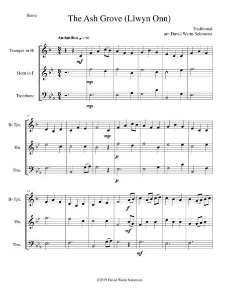 The Ash Grove (Llwyn Onn) for brass trio (trumpet, horn, trombone)