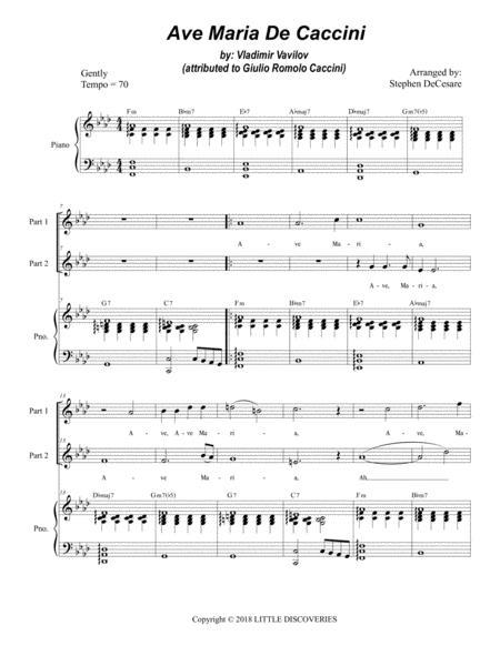 Ave Maria De Caccini (for 2-part choir - High Key)