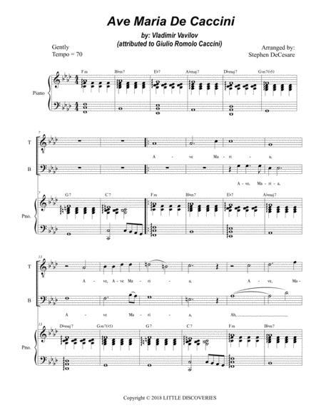 Ave Maria De Caccini (for 2-part choir - (TB) - High Key)