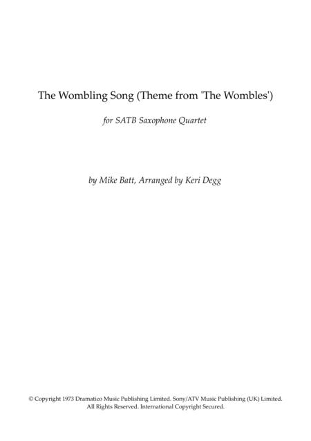 The Wombling Song - Mike Batt. For SATB Quartet (optional clarinet instead of Soprano Sax). Kids TV Theme from 1970/80's