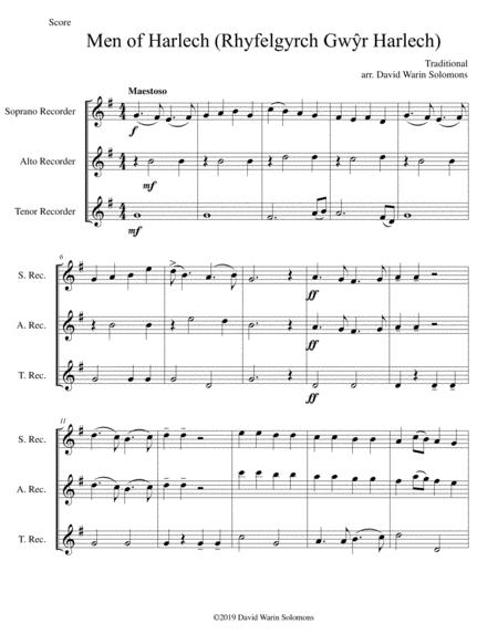 Men of Harlech (Rhyfelgyrch Gwŷr Harlech) for recorder trio (soprano, alto, tenor)