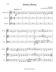 Donkey riding for brass trio (trumpet, horn, trombone)