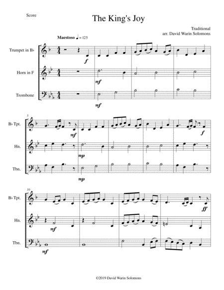The King's Joy for brass trio (trumpet, horn, trombone)