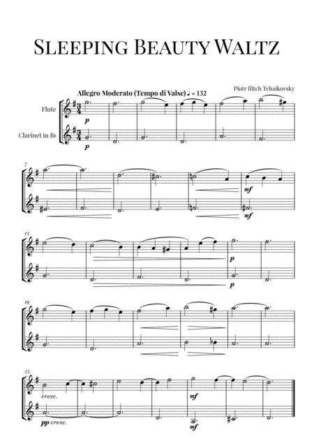 Tchaikovsky: Sleeping Beauty Waltz for Flute and Clarinet in Bb Duet (Woodwind Duet)