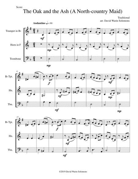 The Oak and the Ash (A North country maid) for brass trio (trumpet, horn, trombone)
