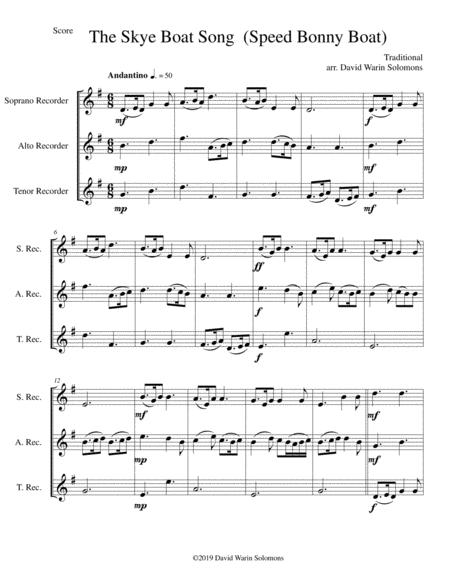 The Skye boat song (Speed bonny boat) for recorder trio (soprano, alto, tenor)