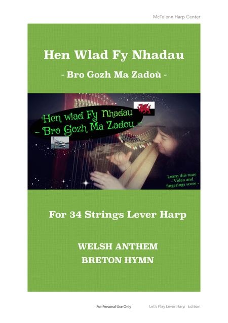 Hen Wlad Fy Nhadau / Bro Gozh Ma Zadoù - For Lever harp - Only Score