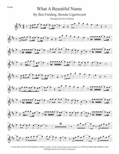 What A Beautiful Name - Violin (Original key)